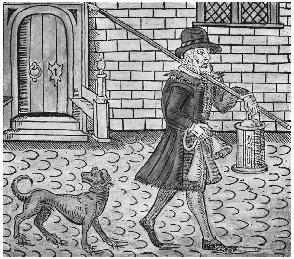 Night watchman in London, England, 1608. (The Granger Collection)
