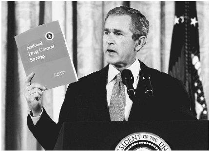 President George W. Bush outlining his new battle plan in the War on Drugs, 2002. (AP/Wide World Photos)