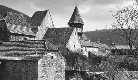 Characteristic stone buildings in the village of Lot. Privacy is strongly valued in French households.