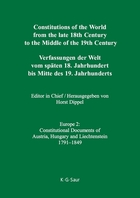 Constitutions of the World from the Late 18th Century to the Middle of the 19th Century--Europe, ed. , v. 2