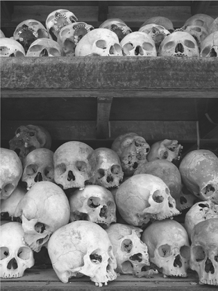 Piles of skulls and bones memorializing as many as 2 million victims of the Khmer Rouge killing fields.