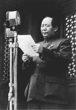 Communist Party Chairman Mao Zedong shown reading a proclamation of the founding of the Peoples Republic of China on 1 October