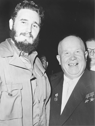 Cuban leader Fidel Castro with Soviet leader Nikita Khrushchev at the United Nations in New York, 1960.