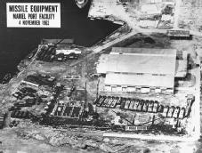 Cuban Missile Crisis. This U.S. aerial reconnaissance photograph shows launch pads and related equipment at the Mariel Port Facility in Cuba, 4 November 1962. © CORBIS