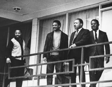 Martin Luther King Jr. The civil rights leader (second from right) arrives at the Lorraine Motel on 3 April 1968 with (left to right) Hosea Williams, Jesse Jackson, and Ralph Abernathy; the next day he would be assassinated there. AP/WIDE WORLD PHOTOS
