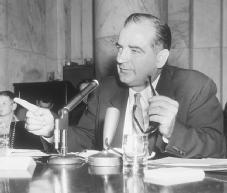 Senator Joseph McCarthy. The Wisconsin Republican's own actions in pursuit of communism in the early 1950s played only one part in the longer Cold War period of excessive zeal named for him. AP/WIDE WORLD PHOTOS