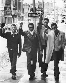 Black Panthers. Members of the radical group that advocated Black Power as well as community programs—(left to right) James Pelser, Jerry James, Greg Criner, and Robert Reynolds—walk in New Brunswick, N.J., in February 1969, during a period of increased violent confrontation between the Panthers and police around the country. AP/WIDE WORLD PHOTOS