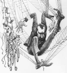 Trapped. In this 1974 political cartoon, President Richard Nixon is caught in a spider's web; tape recordings dangle at his side. LIBRARY OF CONGRESS