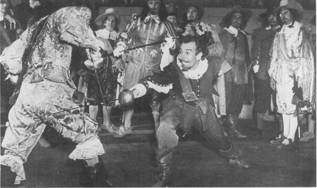 A scene from the 1950 film adaptation, starring Jose Ferrer as Cyrano