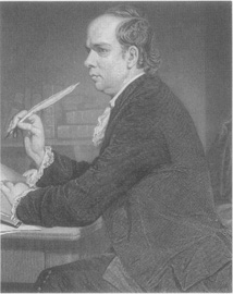 Oliver Goldsmith depicted at his desk
