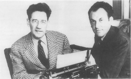 George Kaufman (at typewriter) and Moss Hart in 1937.