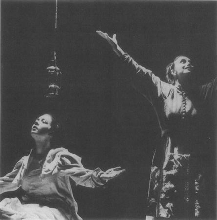 A scene from the 1984 Royal Shakespeare Company tour depicting Betty (Caroline Milmoe) and Abigail (Jenifer Landor)