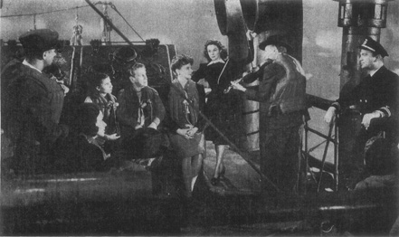 A scene from the 1944 film adaptation of The Hairy Ape. Mildred (Susan Hayward) is seated to the right of her aunt (Dorothy Comingore)