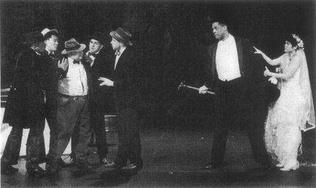 A scene from a 1995 American Repertory Theatre production depicting Macheath and Pollys wedding