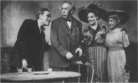 A scene from the original 1946 Broadway production, featuring James Barton as Hickey and Dudley Diggs as saloon owner Harry Hope