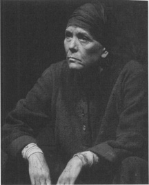 Brechts titular character, Mother Courage (Diana Rigg), in a 1995 production staged at the National Theatre in London