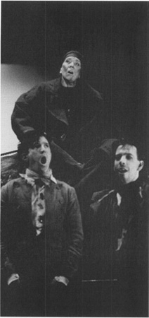 An example of one of Brechts best-known alienation effects, Mother Courage (Diana Rigg) and her two sons break into song.