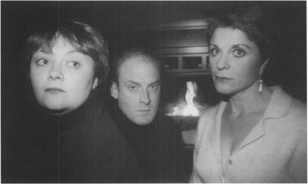 Sartres three doomed protagonists, Inez (Wendy Wright), Garcin (Troy F. Sill), and Estelle (Nancy Wright).