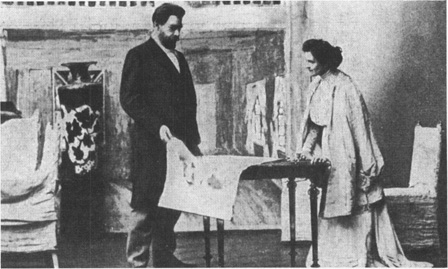 Konstantin Stanislavsky, the director of the Moscow Art Theatre, portrays Astrov in a scene from Uncle Vanya; Olga Knipper, playwright Chekhovs wife, is in the role of Yelena