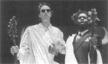A contemporary interpretative staging of The Bacchae, depicting Bacchants Tiresias (the blind prophet) and Cadmus, the former king