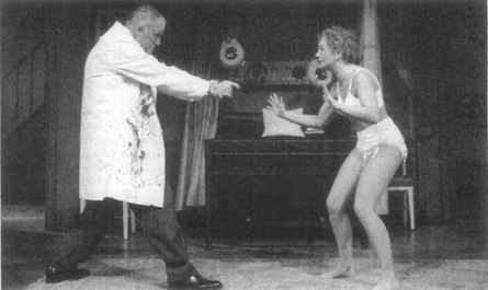 Richard Wilson and Debra Gillet enact part of the chaos that ensues in the plays closing moments