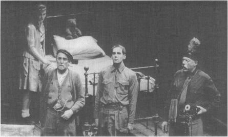 A stage production of Behans play: Pat (Dermot Crowley), Leslie (Damien Lyne), and Monsewar (John Woodvine).