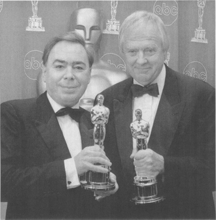 Andrew Lloyd Weber and Tim Rice after winning the Academy Award for best music (for their collaboration on Evita) in 1997