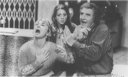 A scene from a production staged at the Bayliss Theatre in 1988; Bunny (Helen Lederer), Bananas (Nichola McAuliffe), and Artie (Denis Quilley)