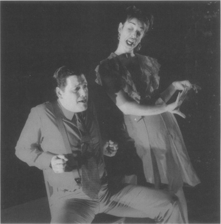 A scene from a contemporary (1998) interpretation of Jarrys work, featuring Luis Alberto Soto as Pere Ubu and Christine Entwistle as Mere Ubu