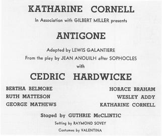 Playbill of Anouilhs Antigone