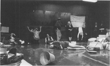 Sanneke Bos (lying on the stage) from a production of Gorkis The Lower Depths.