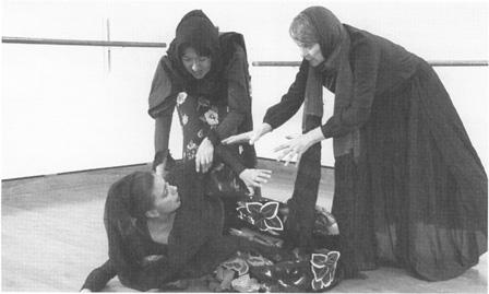 Gema Sandoval (on floor), Angela Jimenez, and Margarita Stocker (far right) star in California State Universitys 1999 production ofBlood Wedding.