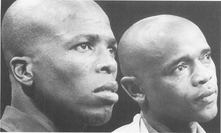 Actors Winston Ntshona and John Kani, shown here, appeared in the original production of Sizwe Banzi Is Dead.