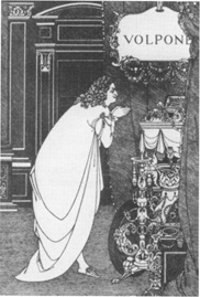 An illustration by Aubrey Beardsley for Volpone.