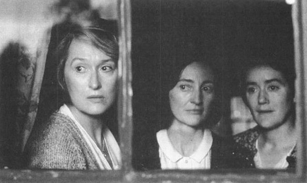 Meryl Streep (as Kate Mundy), Brid Brennan (as Agnes Mundy) and Sophie Thompson (as Rose Mundy) in a scene from the 1998 film adaptation of Dancing at Lughnasa.