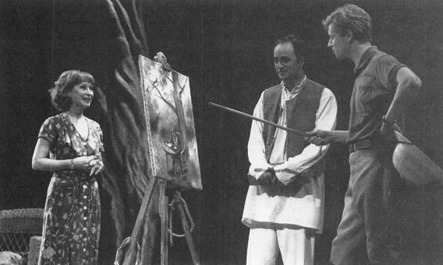Felicity Kendal (as Flora Crewe), Art Malik (as Nirad Das), and Dominic Jephcott (as David Durance) in a 1995 production of Indian Ink, performed at Londons Aldwych Theatre