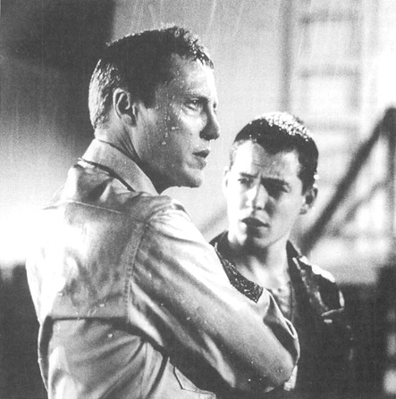 Christopher Walken as Sergeant Toomey and Matthew Broderick as Eugene Morris Jerome in the 1987 film adaptation of Biloxi Blues.