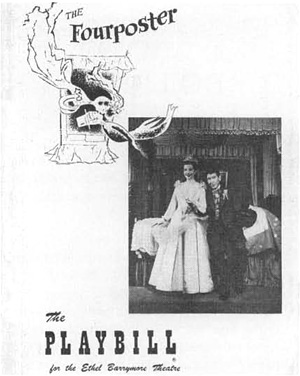 Playbill cover from the 1952 production of The Fourposter featuring Betty Field and Burgess Meredith.