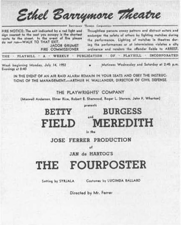 A playbill title page for the 1952 production of The Fourposter at the Ethel Barrymore Theatre.