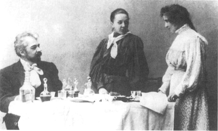 A scene from act 3 of the theatrical production of The Seagull at Moscow Art Theater.