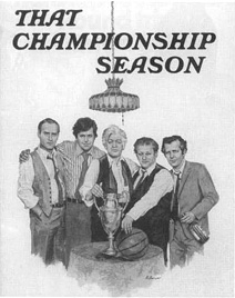 A 1972 playbill cover featuring an illustration of the cast of That Championship Season.