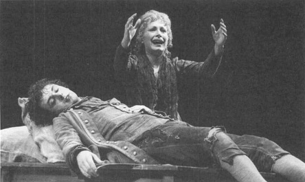 Michael Sheen as Wolfgang Amadeus Mozart and Lucy Whybrow as Constanze Weber in a scene from the 1998 production of Amadeus