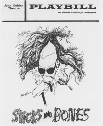 A 1972 playbill cover from the theatrical production of Sticks and Bones at the John Golden Theatre in New York City