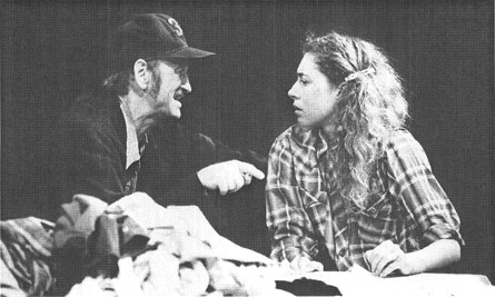 A scene from the 1991 theatrical production of Curse of the Starving Class, featuring John McEnery and Alex Kingston