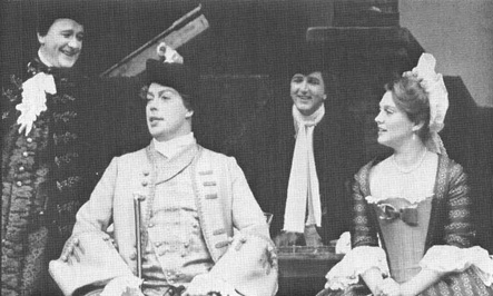 A scene from the 1985 theatrical production of Love for Love, performed at the National Theatre in London