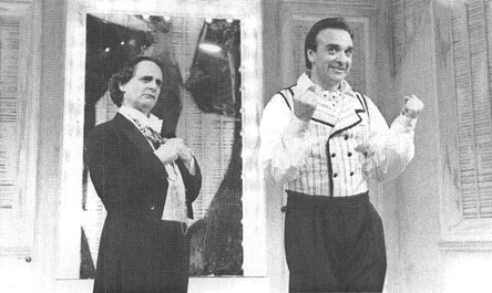 Sylvester McCoy, as the Count, and John Bowe, as Figaro, in a scene from the 1991 theatrical production of The Marriage of Figaro, performed at the Palace Theatre in Watford, England