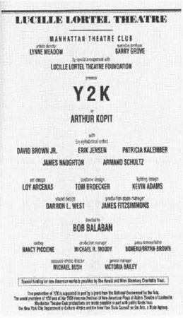 A 1999 playbill cast list of Y2K, performed at the Lucille Lortel Theatre in New York City