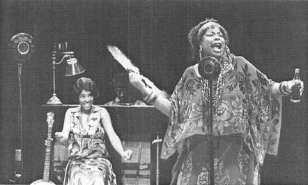 A scene from the 1989 theatrical production of Ma Raineys Black Bottom, featuring Carol Woods-Coleman, as Ma Rainey
