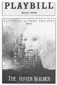 Playbill cover from the theatrical production of The Master Builder, performed at the Belasco Theatre in 1992