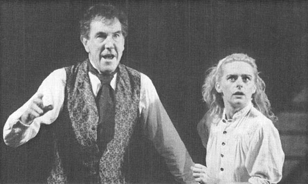 John Wood and Joanne Pearce in the 1989 theatrical production of The Master Builder, performed at the Theatre Royal in London